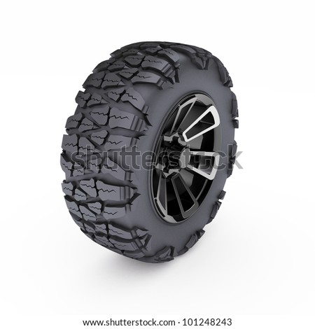 offroad wheel on white background. 3d render - stock photo