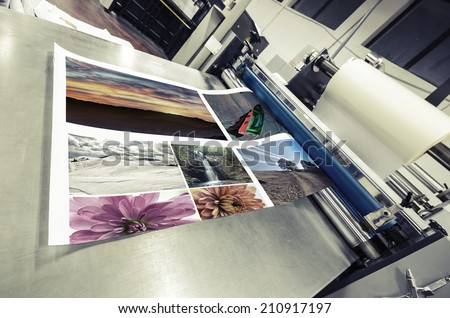 offset machine roll laminator, VINTAGE - stock photo