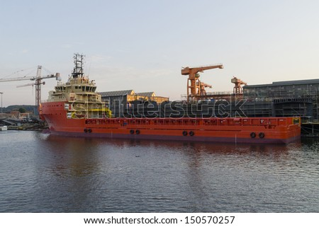 Offshore Construction Vessel in the shipyard Gdansk, Poland - stock photo