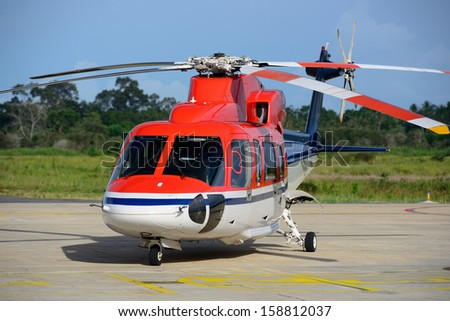 offshore helicopter park on the apron - stock photo