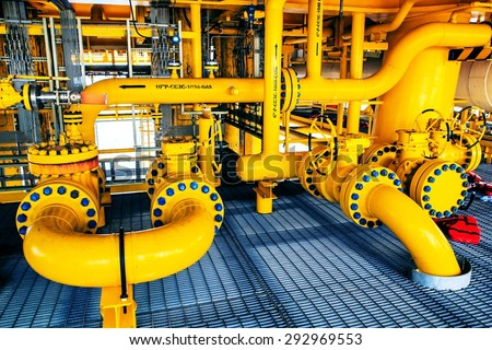 Offshore Industry oil and gas production petroleum pipeline. - stock photo
