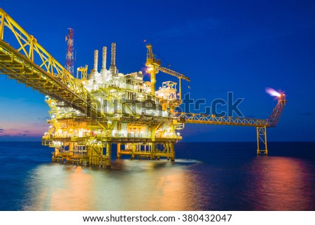 Offshore oil and gas processing platform produce gas and condensate sent to onshore refinery.  - stock photo
