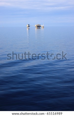 Offshore Oil and Gas Production Platform - stock photo