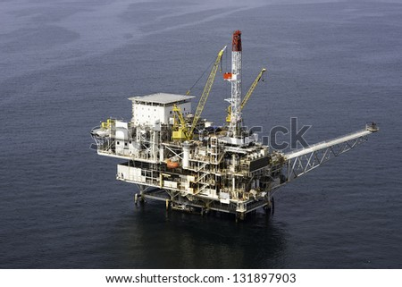Offshore Oil Platform aerial view - stock photo