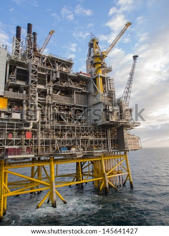 Offshore oil platform on the North Sea, in the Norwegian sector - stock photo