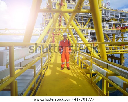 Offshore oil refinery - stock photo