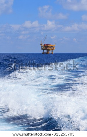 Offshore Production Platform in the Middle of Ocean for Oil and Gas Production - stock photo