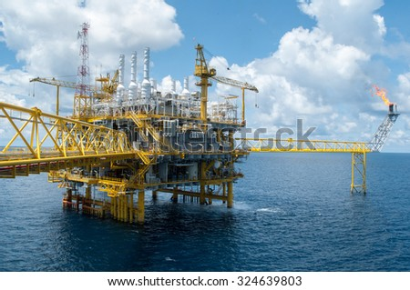 offshore rig - stock photo