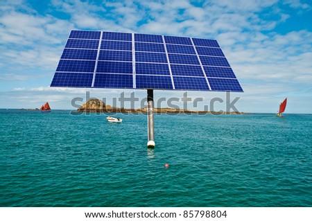 Offshore solar panel in the ocean - stock photo