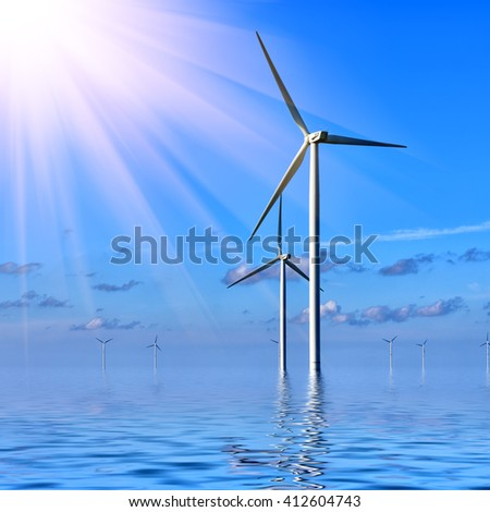 Offshore Wind farm against a blue sky at sunrise - stock photo