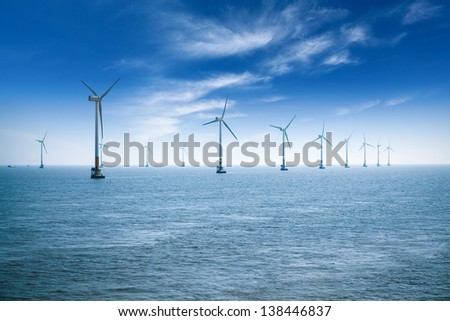 offshore wind farm in shanghai in the east China sea. - stock photo