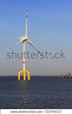 Offshore wind power plant in the North Sea - stock photo