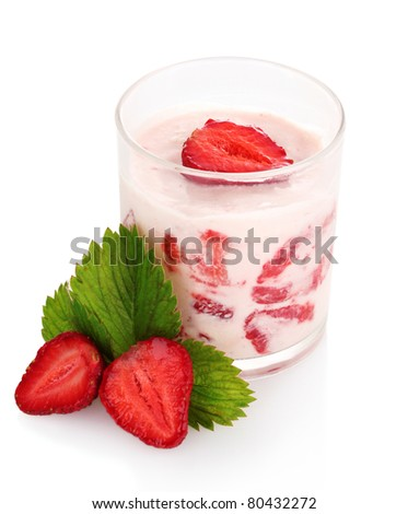 ogurt and strawberries isolated on white - stock photo