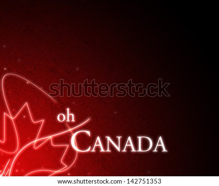 Oh Canada Glowing Design with Maple Leaf - stock photo