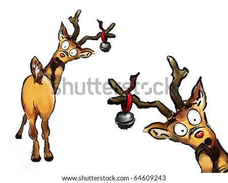 Oh no! Two hand drawn Christmas reindeer on white - stock photo