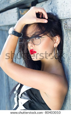 Oh, red lipstick - stock photo