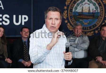 Ohio Governor John Katich speaks at the Stone Church in Newmarket, New Hampshire, on January 17, 2016, during the New Hampshire presidential primary.  - stock photo