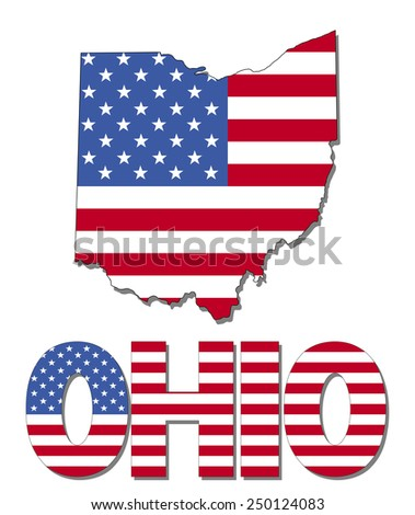 Ohio map flag and text illustration - stock photo