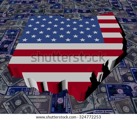 Ohio map flag on dollars illustration - stock photo