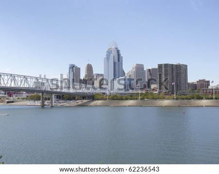 Ohio River Cincinnati Ohio Skyline Cityscape From Newport Kentucky - stock photo