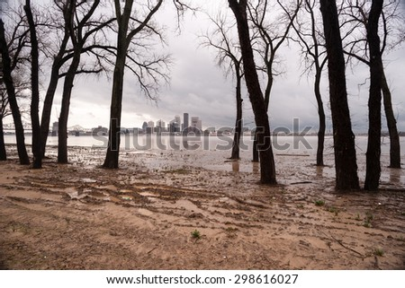 Ohio River Riverbanks Overflowing Louisville Kentucky Flooding - stock photo