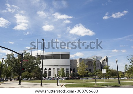"""Ohio Stadium is the home of the Ohio State Buckeyes.  Built in 1922, it is shaped like a horseshoe and hence has the nickname """"The Shoe"""" - stock photo"""