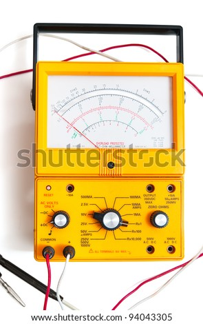 Ohm meter isolated on white - stock photo