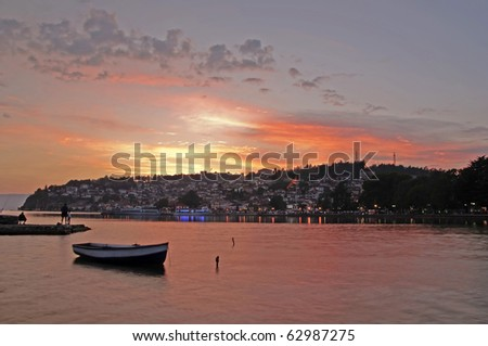 Ohrid City at the sunset - stock photo