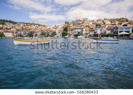 Ohrid lake and town - stock photo