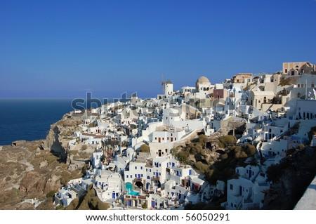 Oia (or Ia), Santorini, Greece - stock photo