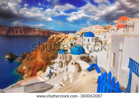Oia village architecture, Santorini island, Greece - stock photo