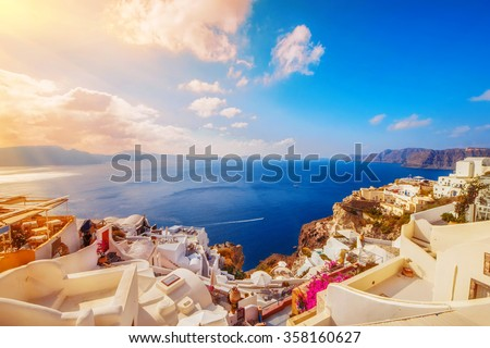 Oia village in the morning light, Santorini, Greece - stock photo