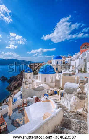 Oia village on Santorini island, Greece - stock photo