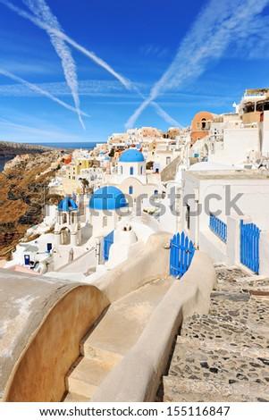 Oia village on the island of Santorini, Cyclades, Greece - stock photo