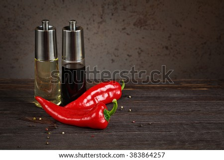 oil and balsamic vinegar with pepper - stock photo