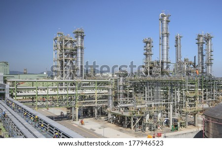 Oil and chemical refinery factory - stock photo