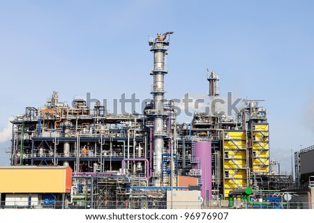 oil and chemical refinery in the harbor of rotterdam netherlands - stock photo