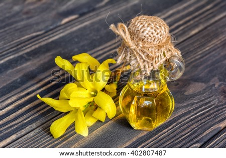 Oil and flower of forsythia on wooden background  - stock photo