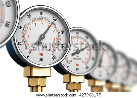 Oil and gas fuel manufacturing industry business concept: 3D render of the row of metal steel high pressure gauge meters or manometers on tubing pipeline at LNG or LPG natural gas distribution station - stock photo
