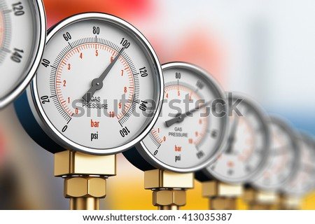 Oil and gas fuel manufacturing industry concept: 3D render illustration of row of metal steel high pressure gauge meters or manometers on tubing pipeline at LNG or LPG distribution station facility - stock photo