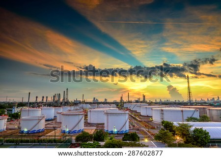 Oil and gas industry - Boiler stream in refinery power plant at sunset  - stock photo