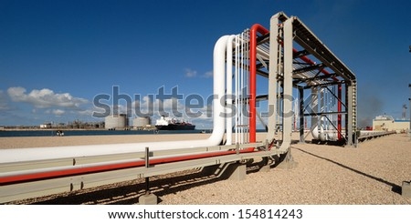 Oil and gas industry - Petrochemical factory, Industrial zone and petrochemical plant - stock photo