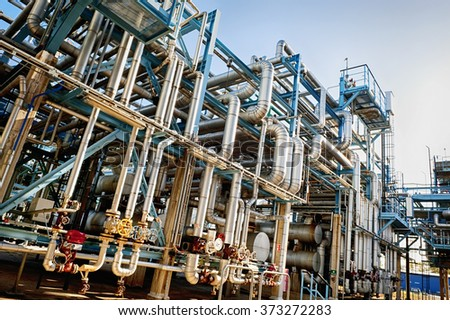 oil and gas pipelines, main station distillery - stock photo