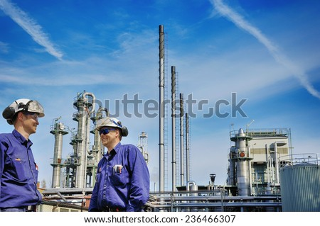 oil and gas, power and energy industry with workers - stock photo