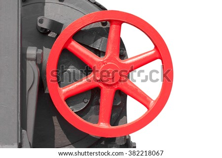 Oil and gas processing plant with pipe line valves isolated on white background with clipping path