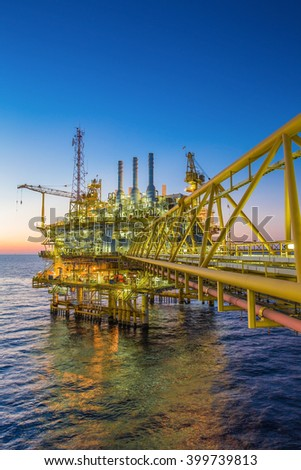 Oil and gas processing platform at the gulf of thailand to produced oil gas condensate for sent to onshore petrochemical plant - stock photo