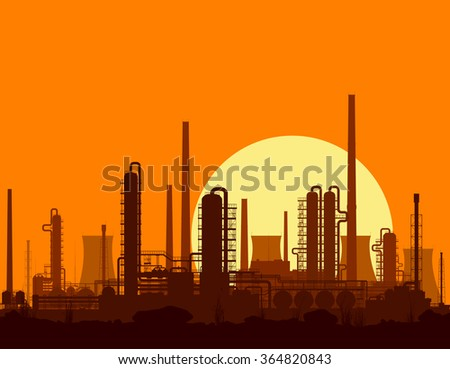 Oil and gas refinery or chemical plant at sunset. Raster illustration.  - stock photo