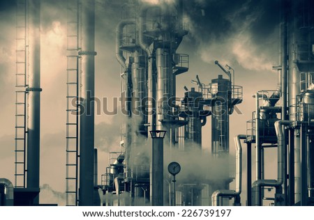 oil and gas refinery, smoke, smog and pollution - stock photo