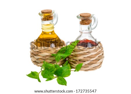 Oil and vinegar with tarragon - stock photo