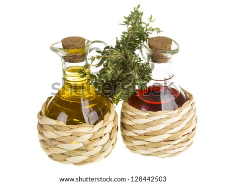 Oil and Vinegar with thyme - stock photo